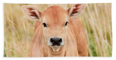 Hand Towel featuring the photograph Calf In The High Grass by Nick Biemans