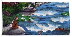 Calico Cat At Koi Pond Bath Towel