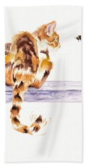 Calico Cat Bee Watchful Bath Towel