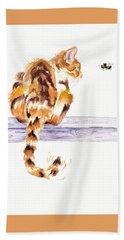 Calico Cat Bee Watchful Bath Towel