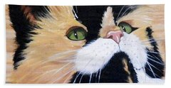 Calico Cat On Wood Bath Towel