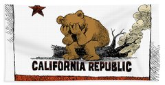 California Fire Bear Grieves Bath Towel