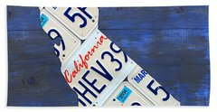 California License Plate Map On Blue Hand Towel