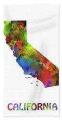 California  Map Watercolor Hand Towel