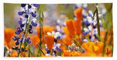 California Poppies And Lupine Hand Towel