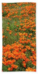 Hand Towel featuring the mixed media California Poppies- Art By Linda Woods by Linda Woods