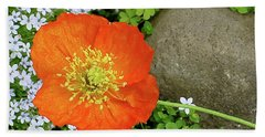 California Poppy Rock Garden Bath Towel by Shirley Heyn