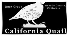 California Quail - White Graphics Bath Towel