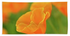 California Spring Poppy Macro Close Up Bath Towel