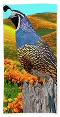 California State Bird And Flower Bath Towel