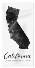 California State Map Art - Grunge Silhouette Bath Towel