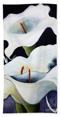 Bath Towel featuring the painting Calla Lilies.. by Jolanta Anna Karolska