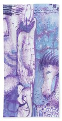 Bath Towel featuring the mixed media Calling Upon Spirit Animals by Prerna Poojara