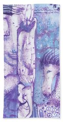Bath Towel featuring the mixed media Calling Upon The Spirit Animals by Prerna Poojara