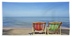Bath Towel featuring the painting Calm Beach by Harry Warrick