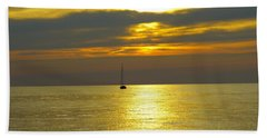 Calm Before Sunset Over Lake Erie Hand Towel by Donald C Morgan