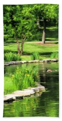 Bath Towel featuring the painting Calm Lake Ellyn by Christopher Arndt