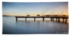 Calm Morning At The Pier Hand Towel
