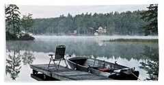 Calm Morning On Little Sebago Lake Bath Towel