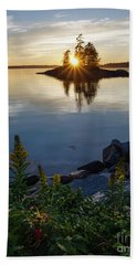 Hand Towel featuring the photograph Calm Water At Sunset, Harpswell, Maine -99056-99058 by John Bald