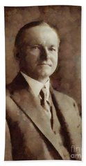 Calvin Coolidge, President United States By Sarah Kirk Hand Towel