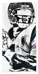 Bath Towel featuring the mixed media Cam Newton Carolina Panthers Pixel Art 3 by Joe Hamilton
