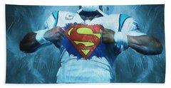 Cam Newton Superman Hand Towel by Dan Sproul