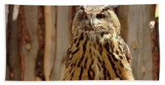 Bath Towel featuring the photograph Camouflage Eagle Owl by Debby Pueschel