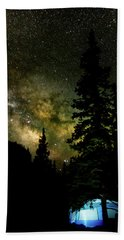 Camping Under The Milky Way Hand Towel