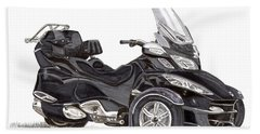 Bath Towel featuring the painting Can-am Spyder Trike by Jack Pumphrey
