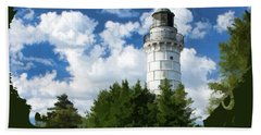 Cana Island Lighthouse Cloudscape In Door County Bath Towel