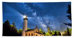 Bath Towel featuring the painting Cana Island Lighthouse Milky Way In Door County Wisconsin by Christopher Arndt