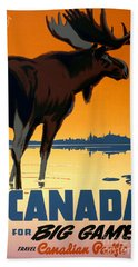 Canada Big Game Vintage Travel Poster Restored Hand Towel
