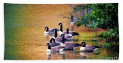 Bath Towel featuring the photograph Canada Geese - Autumn At Pandapas Pond by Kerri Farley