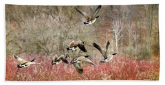 Canada Geese In Flight Bath Towel