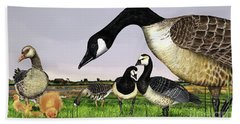 Canada Goose - Greylag Goose With Fledglings Chicks - White Fronted Goose -  Barnacle Goose Hand Towel