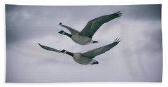 Canadian Geese In Flight Bath Towel by Jason Coward
