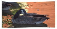 Canadian Goose On Sunset Reflection Pond Bath Towel