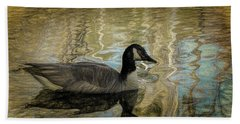 Bath Towel featuring the painting Canadian Goose by Steven Richardson