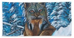 Canadian Lynx Hand Towel by Sharon Duguay