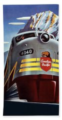 Canadian Pacific - Railroad Engine, Mountains - Retro Travel Poster - Vintage Poster Bath Towel