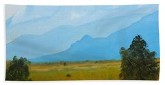 Canadian Rockies In The Distance Beyond The Farmed Flatlands Hand Towel