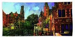 Canal In Bruges Hand Towel