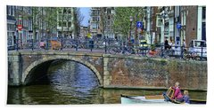 Bath Towel featuring the photograph Amsterdam Canal Scene 3 by Allen Beatty