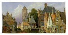 Canal Scene In Holland, 1898  Hand Towel