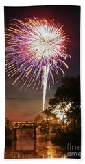 Canal View Of Fire Works Hand Towel