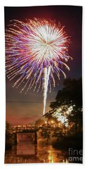 Canal View Of Fire Works Bath Towel