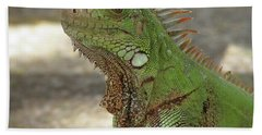 Candid Of A Green Iguana Bath Towel by DejaVu Designs