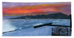 Bath Towel featuring the painting Candidasa Sunset Bali Indonesia by Melly Terpening
