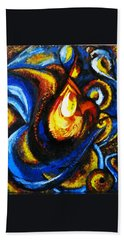 Hand Towel featuring the painting Candle In Your Heart by Harsh Malik